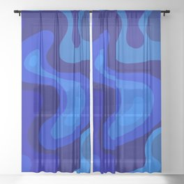 Blue Abstract Art Colorful Blue Shades Design Sheer Curtain