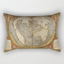 Heart-shaped projection map by Oronce Fine, 16th century Rectangular Pillow