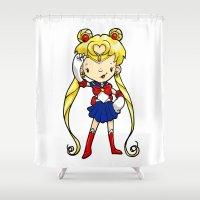 sailor moon Shower Curtains featuring Sailor Scout Sailor Moon by Space Bat designs