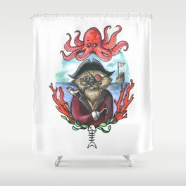 Captain Barnacles The Cat Shower Curtain