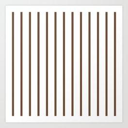 Vertical Lines (Coffee/White) Art Print