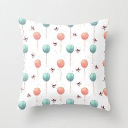 Cute teal coral brown birds balloons watercolor Throw Pillow