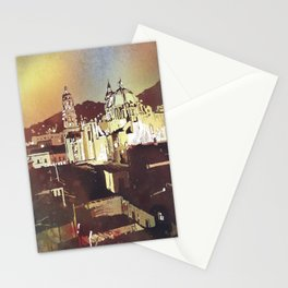 Watercolor painting of Cathedral in the colonial mining town of Zacatecas, Mexico at sunset. Stationery Cards