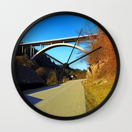 Mighty valley bridge | architecture photography Wall Clock