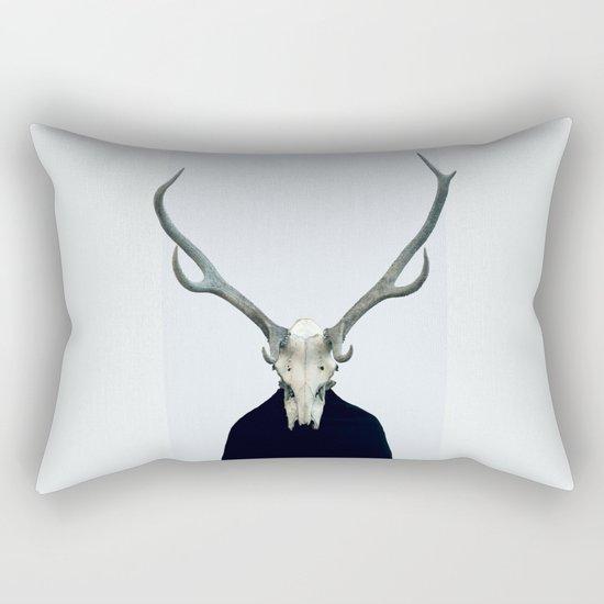 Living Skull and Horns Rectangular Pillow