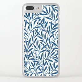 William Morris Navy Blue Botanical Pattern 9 Clear iPhone Case