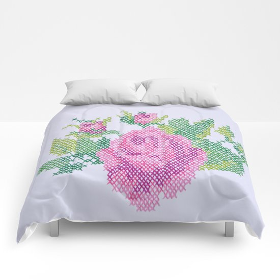 English Rose (Oversized Cross Stitch) Comforters