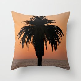 Glowing Palm Tree Sunset Throw Pillow