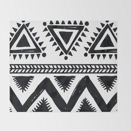 Tribal black and white Throw Blanket