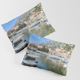 Picture Montenegro Kotor Bay Pier speedboat Houses Cities Berth Marinas Motorboat powerboat Building Pillow Sham