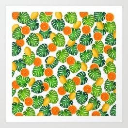 Oranges Lemons Monstera White Art Print
