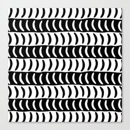 Wavy Stripes Black and White 2 Canvas Print