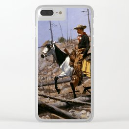 """Frederic Remington Western Art """"Prospecting for Cattle Range"""" Clear iPhone Case"""
