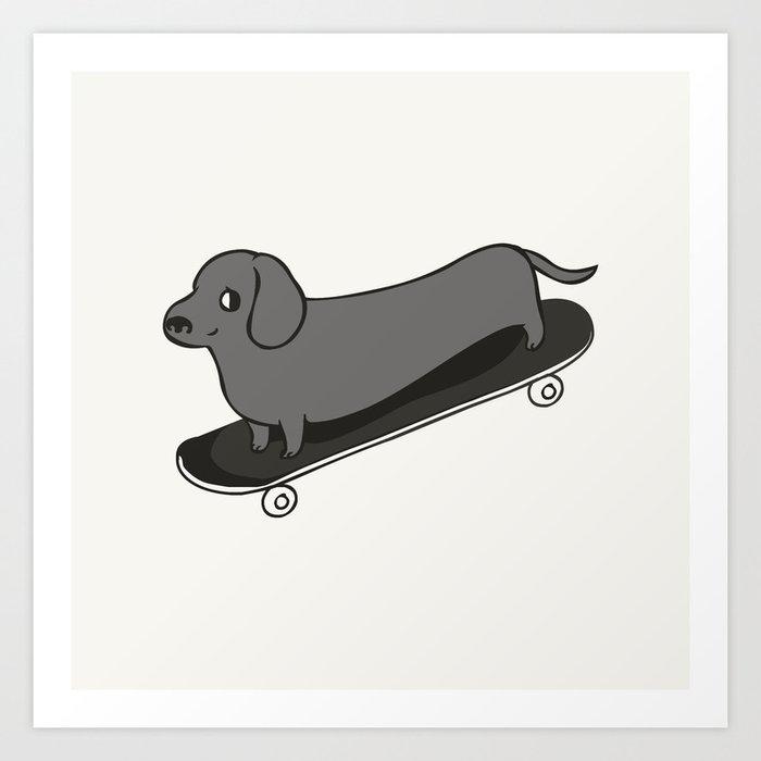 Skateboarding Dachshund Art Print