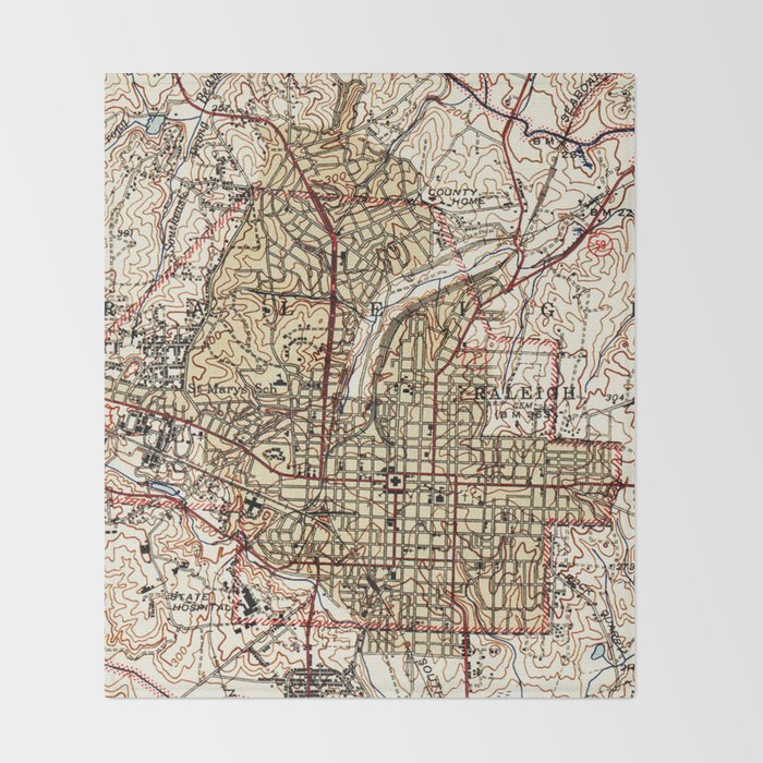 Vintage Map of Raleigh North Carolina (1940) Throw Blanket by ...