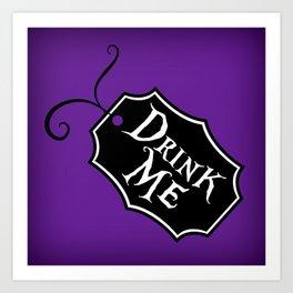 """""""Drink Me"""" Alice in Wonderland styled Bottle Tag Design in 'Shy Violets' Art Print"""