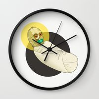 c3po Wall Clocks featuring Baby C3PO by Fanny Öqvist Westerberg
