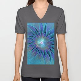 Decorative Blue Purple Turquoise Flower Fractal Art Unisex V-Neck