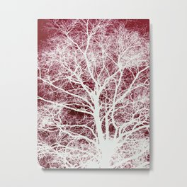 Red tree silhouette Metal Print