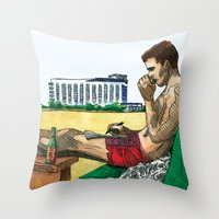 hunter s thompson Throw Pillows featuring Hunter S. Thompson, The Rum Diary by Abominable Ink by Fazooli