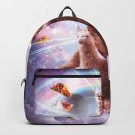 Laser Eyes Space Cat Riding Sloth, Llama - Rainbow Backpack