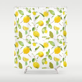 Watercolor Lemon & Leaves Shower Curtain