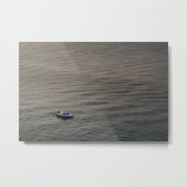 Small boat anchored in the river Metal Print