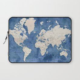Light brown and blue watercolor detailed world map Laptop Sleeve