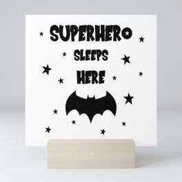 Superhero Sleeps Here Mini Art Print