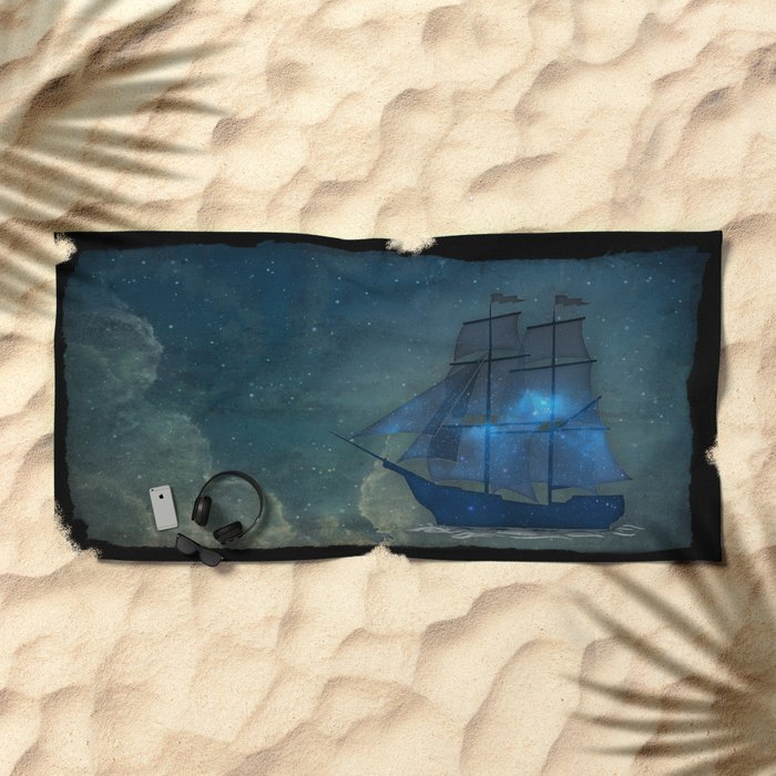 Ships and Stars Beach Towel