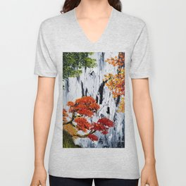 waterfall painting, fall foliage art, autumn trees, orange leaves, waterfall bag, fall tote, rustic Unisex V-Neck