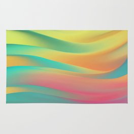 green and blue colorful wavy abstract mixer brush Rug