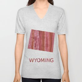 Wyoming map outline Indian red stained wash drawing Unisex V-Neck