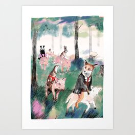 Pig riders Art Print