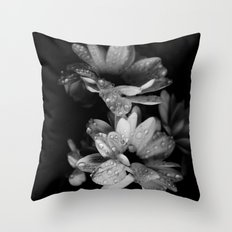 Flower and drops. Black and white. Throw Pillow