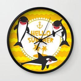 Hello Summer, Kawaii orca Wall Clock