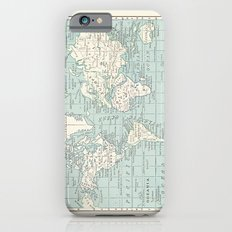 World Map in Blue and Cream Slim Case iPhone 6s