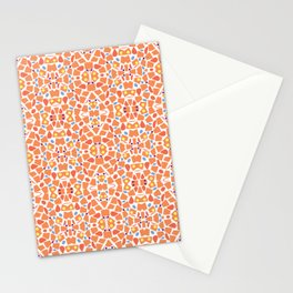 Pastel Red Irregular Shapes Pattern Stationery Cards