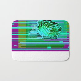 Green-Purple Fantasy Green Rose Abstract Bath Mat