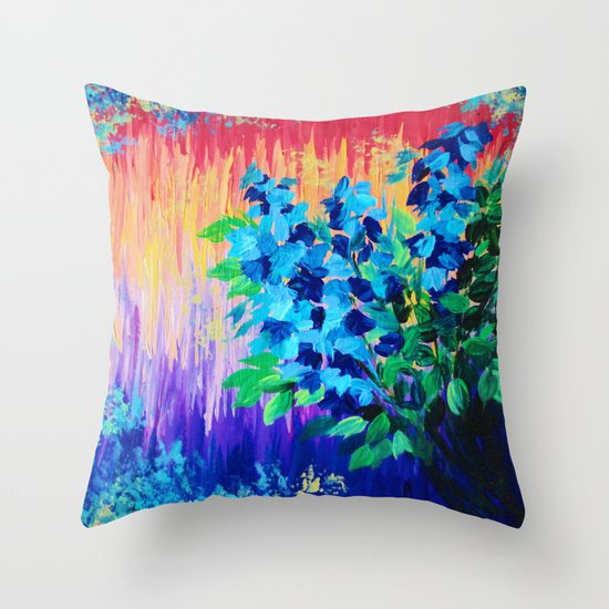 SHADES OF BEAUTIFUL - Stunning Bright BOLD Rainbow Ombre Pattern Blue Floral Hyacinth Nature Autumn Throw Pillow