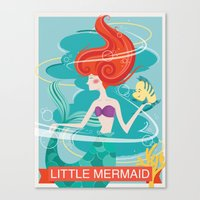 little mermaid Canvas Prints featuring Little Mermaid by LindseyCowley