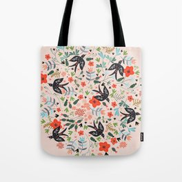 Around The Garden on Pink Tote Bag