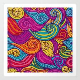 Vivid Whimsical Jewel Tone Retro Wave Print Pattern Art Print