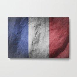 Old Vintage Grunge France Flag Metal Print