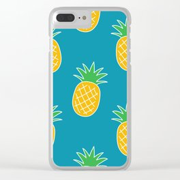 Bright Summer Pineapple Pattern Clear iPhone Case