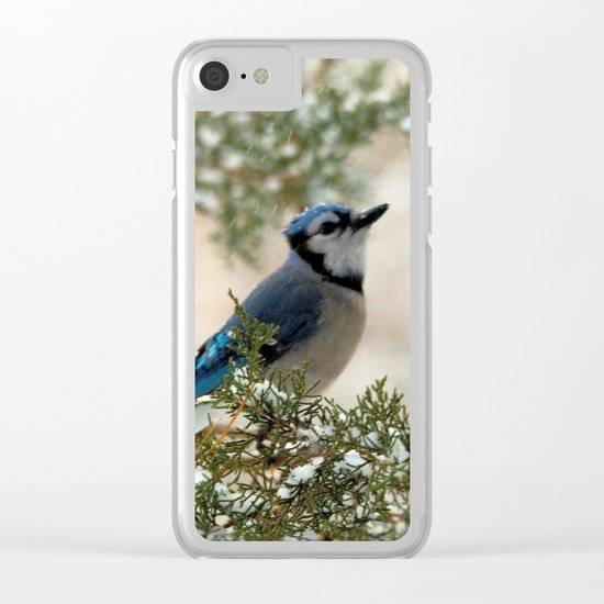 Look to the Sky (Blue Jay) Clear iPhone Case