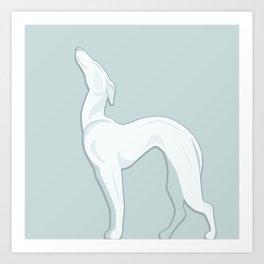 Big  White Ceramic Dog Art Print