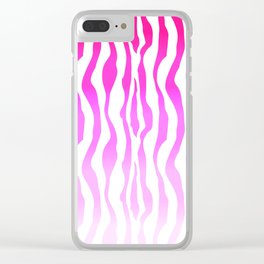 Pink Purple Zebra Stripe Skin Clear iPhone Case