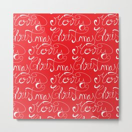 Merry Christmas Type Pattern Metal Print