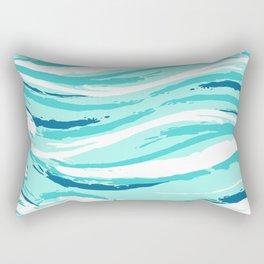 Abstract Aqua Waves Illustration Rectangular Pillow